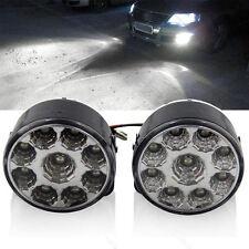 2X 9 LED DRL Car Fog Lamp Rear Front Driving Running Light Round 12V 4.5W White