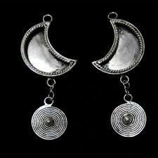 Diy embed half-moon earring 1pair Tribal accessory Chinese handmade miao silver