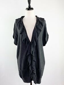 Halogen Sz L Gray Short Sleeve Ruffle Knit Sweater Top Button Front Wool Blend