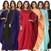 Muslim Women Lady Bat Sleeve Abaya Kaftan Maxi Dress Dubai Gown Islam Loose Robe