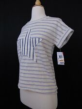 Style & Co. Petite Stars & Stripes Patriotic Printed Peasant Top PS Small #2421