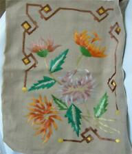 Antique Arts and Crafts Silk Embroidery Linen Pillow Sham Case Flowers Mum 18x20