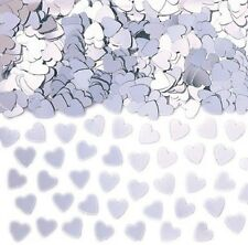 Silver Sparkle Hearts Table Confetti Contains Heart Cutouts for Party / Event