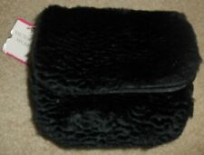 Victoria's Secret Nwt Soft Plush Faux Fur Black Zip Around Make-up Bag Pouch #3
