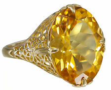 Large 10k Yellow Gold Oval Cut Yellow Citrine Deco Style Ring Bridal 8.00ctw