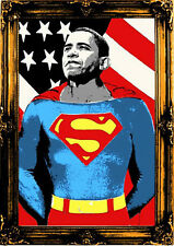 Mr Brainwash SUPERMAN Barack Obama Signed #d GOLD Screenprint Poster Banksy RARE