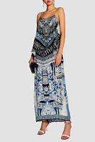 new CAMILLA FRANKS SILK SWAROVSKI TALES OF BATIK LOW BACK LAYERED DRESS layby av