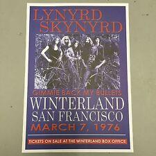 LYNYRD SKYNYRD - CONCERT POSTER SAN FRANCISCO 7th MARCH 1976 (A3 SIZE)