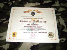 VIETNAM WAR CROSS OF GALLANTRY REPLACEMENT CERTIFICATE ON 24 LB. PARCHMENT PAPER