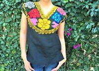 Black Mexican Blouse w Flowers- Embroidered - Zincatan Handmade Blouse - Medium