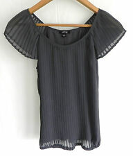 New APT . 9   Chiffon Pleated Blouse/Top Dark Grey Size S 100% Polyester