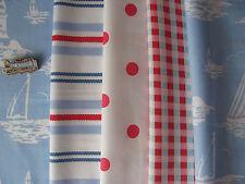 Cath Kidston bundle 5 * 25cm square Mono Boats Ticking Stripe Red Spot Check new