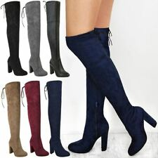 Ladies Womens Thigh High Boots Over The Knee Party Stretch Block Mid Heels Size