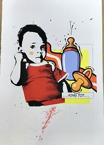 "African-American Pop Art Screen Print ""King Tot"" Acrylic On 90lb Paper."