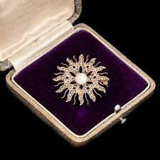 Antique Vintage Nouveau 14k Rose Gold Seed Pearl Starburst Brooch Pin Pendant