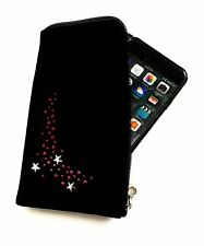 Reissverschluss Handy Tasche schwarz mit Strass für Cubot Note S - Hülle Case