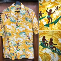 VINTAGE 1940'S CARTOON SURF NATIVES PATTERN RAYON HAWAIIAN SHIRT -ORIGINAL- L