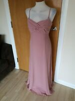 Ladies Dress Size 14 NEXT Long Maxi Chiffon Party Evening Wedding Dusty Pink