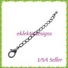 """5pc 3"""" Gunmetal Blk Lobster Clasp Extender Chain Ends Jewelry Findings Necklace"""