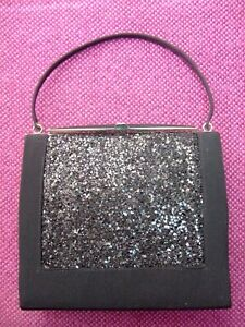 """Vintage black """"Sparkly"""" evening bag. metal frame."""