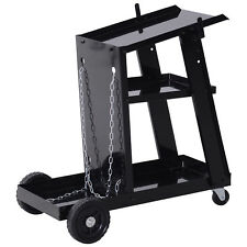 3 Tier Welding Cart Welder Trolley  for Tanks Gas Bottles Safety Chain Black
