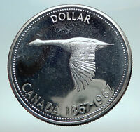 1967 CANADA CANADIAN Confederation Founding with Goose Silver Dollar Coin i82522