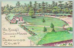 Statesboro Georgia~Mrs Kennedy's Chick Hose~Parkwood Court~Vintage Postcard