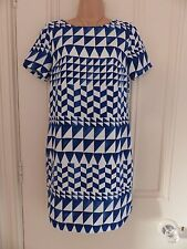 Gorgeous lined Next size 6 blue and white sheath or tunic dress short sleeved