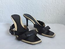 GUCCI BLACK-TAN  HEELS SHOES  SZ  6 1/2