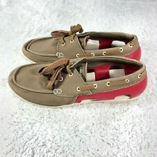 Crocs Mens Size 11 Beach Line Boat Shoes Red and Brown Laces 200247