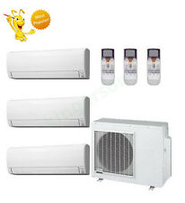 9k + 9k +12k Btu Fujitsu Tri Zone Ductless Wall Mount Heat Pump Air Conditioner