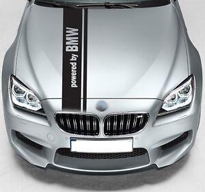 Powered by BMW Dual Rally Hood Stripe Car VINYL STICKER JDM DECAL Graphic