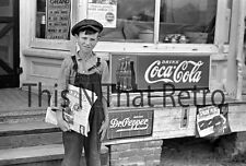 News Boy Standing Outside Store Front Coca Cola Dr Pepper Pre 50's Era