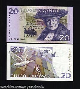 SWEDEN 20 KRONER P-63 1997 HORSE CARRIAGE GOOSE UNC SWEDISH MONEY BILL BANK NOTE