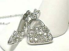 F1 Shoe Purse Charm Crystal Dual Pendant NECKLACE White Gold Plating Charm