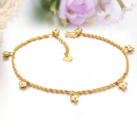 Cute Smooth Heart Link Chain Adjustable Yellow Gold GP Ankle Bracelet Gift
