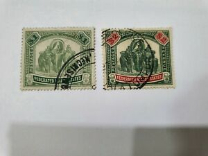 Malaya Federated Malay States FMS $1 & $2 Used Stamp