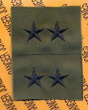 US ARMY Major General MG 0-8 OD Green & Black rank patch set