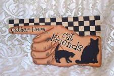 New Handpainted Cat Friends Gather Here Finger Black Cat Kitten Garden Flag