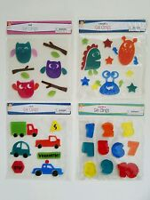 Gel Clings Window Decoration 4 Pack Lot 60 Reusable Decal Car Number Owl Monster