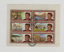 1972 Sharjah Postage Stamps J.F.K First Day Issue Block of 6