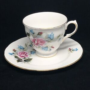 Ridgway Potteries Footed Queen Anne Tea Cup Saucer Mug Pink Roses Blue Flowers