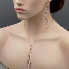 925 Sterling Silver CZ Drop Pendant Necklace Dangle Earrings Jewelry Set 03915