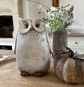 Vintage Large Owl Wooden Effect Resin Carved Ornament Figurine Home Decor Gift