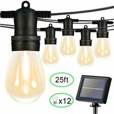 Outdoor Solar String Lights 12 Led S14 Bulbs Waterproof Xmas Garden Party Decor