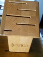 Cutco Gourmet Set Block 5 Slot ~ Wood Knife Block USA Made Honey Oak Finish