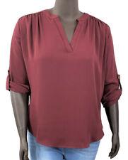 New! ZENANA plus size burgundy chiffon roll-tab sleeve V-neck blouse