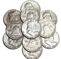 1 Franklin Half Dollars , 90% Silver Coin Lot, Circulated.  Buy what you want