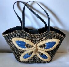 Vintage Butterfly Woven Straw Black Lined Leather Medium Tote Purse Handbag