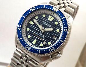 Seiko Blue Waffle Prospex Sub Automatic Scuba Divers Date Watch Custom 7002 Mod